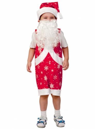 Карнавальный костюм Мистер Санта ткань-плюш (полукомбинезон, колпак, борода) 3-6 лет