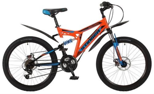 Велосипед Stinger Highlander 100D, оранжевый, рама 24