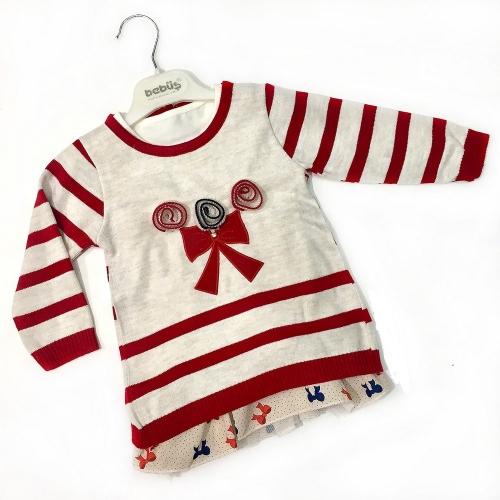 Комплект платье с туникой для девочки, размер 12 месяцев, красный/бежевый, Bebus