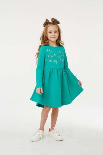 Платье для девочки размер 98, Птички на проводе Изумруд, УМКА