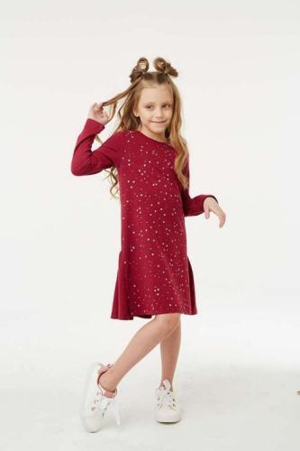 Платье для девочки размер 116, Звезды Бордовое, УМКА
