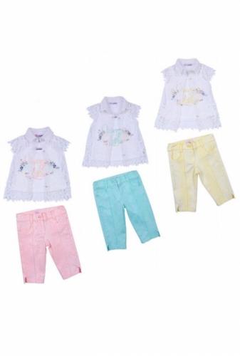 Комплект блузка и бриджи для девочки, размер 2 года, светло-желтый, KTS