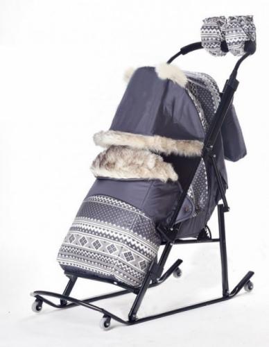 Санки-коляска Kristy Premium Soft 2014 K 1.3 узор скандинавский цвет серый