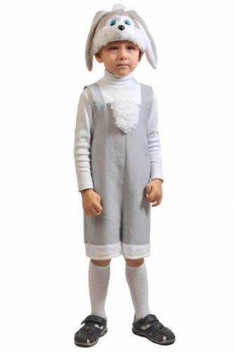 Карнавальный костюм Зайчик серый ткань-плюш (полукомбинезон, маска) 3-6 лет