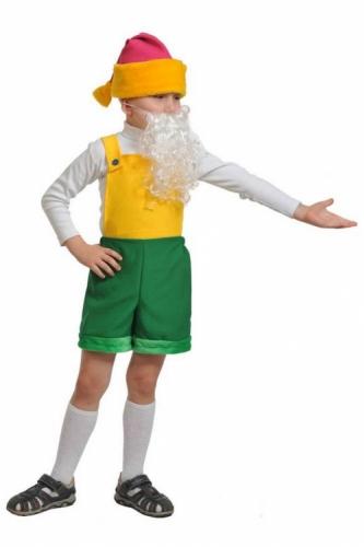 Карнавальный костюм Гномик1, ткань-плюш (полукомбинезон, колпак, борода) 3-6 лет