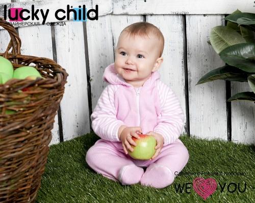 Комбинезон Lucky Child ПОЛОСКИ с капюшоном на молнии (арт.4-13 розовый),размер 26 (80-86)