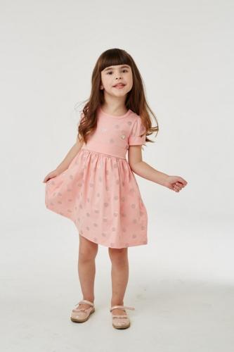 Платье для девочки р.110, розово-оранжевое в горошек UMKA