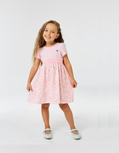 Платье для девочки р.92, бело-розовое с коротким рукавом UMKA