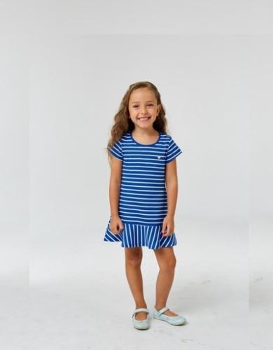 Платье для девочки р.128, бело-синее в полоску UMKA