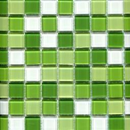 Мозаика Elada Crystal CB606 бело-зелёный микс 32.7x32.7
