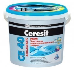 Затирка Ceresit СЕ 40 Aquastatic для швов до 10 мм эластичная водоотталкивающая противогрибковая белый (2кг)