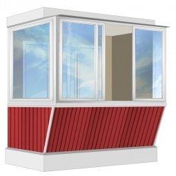 Остекление балкона Алюминиевое Provedal с выносом и отделкой ПВХ-панелями без утепления 2.4 м Г-образное