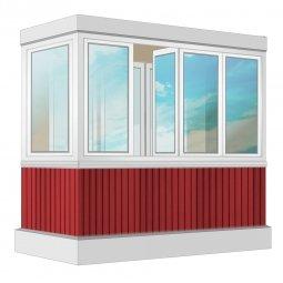 Остекление балкона ПВХ Exprof с отделкой ПВХ-панелями с утеплением 2.4 м Г-образное