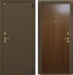 Стальная дверь Гардиан Фактор К медный антик/темный орех правая 2 замка  880x2050 мм