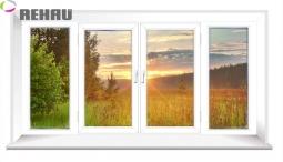 Окно раздвижное Rehau 2100X3000 четырехстворчатое 3 стеклопакет