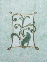 Декор Шаxтинская Плитка Каменный Цветок Зеленый 04 25x33