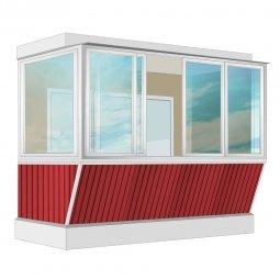 Остекление балкона Алюминиевое Provedal с выносом и отделкой вагонкой без утепления 3.2 м Г-образное