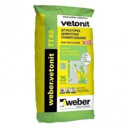 Штукатурка  Weber.Vetonit ТТ 40 толстослойная для внутренних/наружных работ 25 кг